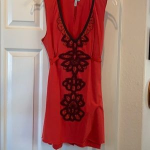 Orange tunic, embroidered trim from Anthropologie